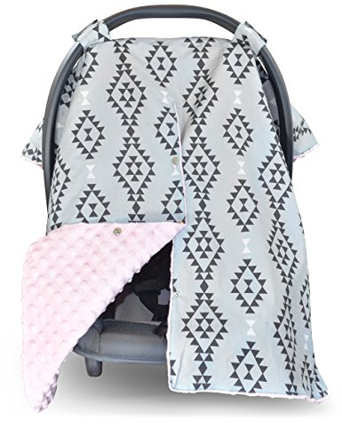 Premium Carseat Canopy Cover and Nursing Cover- Large Aztec Pattern with Pink Minky | Best Infant Car Seat Canopy for Girls | Cool / Warm Weather Car Seat Cover | Baby Shower Gift 4 Breastfeeding Moms (Graco Car Seat Handle Cover compare prices)