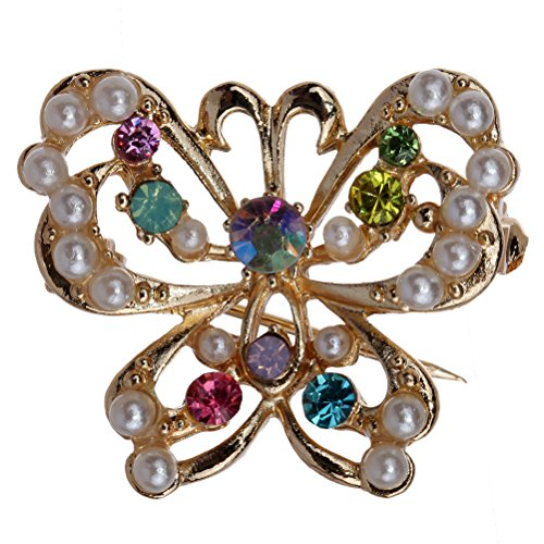 Beau cristal multicolore & Broche perle de Faux Inlay creuse d'or de papillon et de Pins Amybria fille