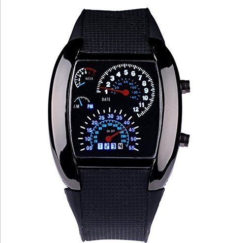 WPOS® Cool RPM Turbo Blue & White Flash Digital LED Sports Watches Gift Car Meter Dial for Men (Electronic Dials compare prices)