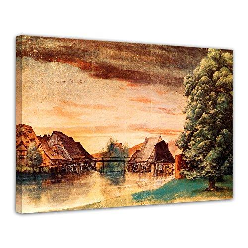 """Bilderdepot24 Leinwandbild Albrecht Dürer - Alte Meister """"Die Weidenmühle"""" 70x50cm - fertig gerahmt, direkt vom Hersteller"""