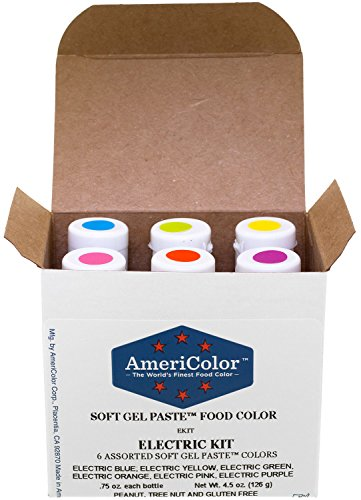 6 - .75oz Soft Gel Paste Electric Colors Cake Decorating Food Color (Americolor Electric Colors compare prices)