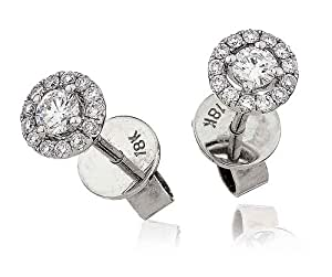 0.35CT Certified G/VS2 Round Brilliant Cut Centre with Halo Diamond Earrings in 18K White Gold