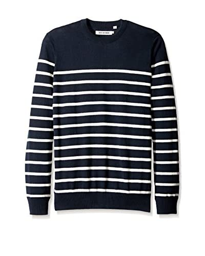 Ben Sherman Men's Striped Crew Neck Long Sleeve Shirt