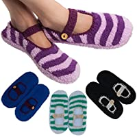 4 Pairs Women's Mary Jane Slipper Socks Fuzzy Non-Skid (Assorted Colors)