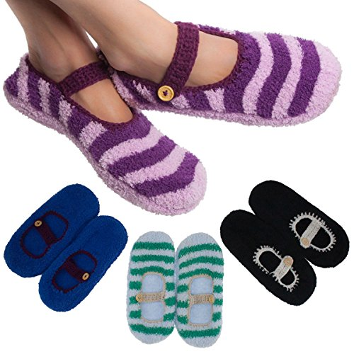 4 Pairs Women'S Mary Jane Slipper Socks Fuzzy Non-Skid Assorted Colors One Size front-951552