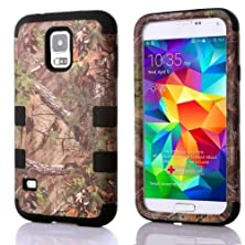 buy Tech Express (Tm) Camouflage Hunter Series Real Camo Tree Hybrid Impact Defender Durable Cover Case For Samsung Galaxy S5 / Sv I9600 (Black)