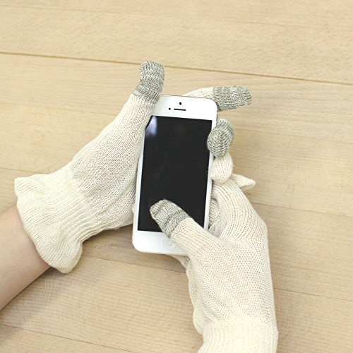 (ASAFUKU) 麻福 おやすみ 手袋 天然 ヘンプ素材( 麻 ) タッチパネル スマートフォン対応 肌に優しい 乾燥対策 生成り Rサイズ
