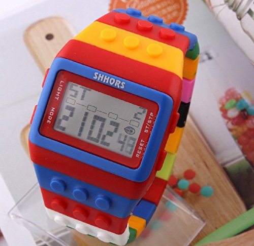 Unisex Digital Backlight Wrist Watch with Colorful Band & Alarm & Date & Stopwatch Red