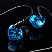 GranVela ROVKING V5 Sport HIFI In-Ear Headphones Sound Isolating Earphones with Single Dynamic MicroDriver with Memory Wire and Inline Microphone and Remote Volume Control (Transparent Blue)