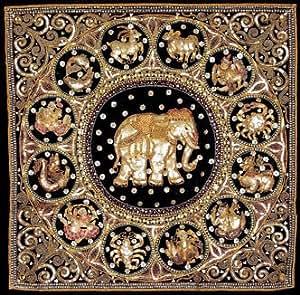 Oriental Furniture Burmese Elephant Horoscope Tapestry Wall Hanging