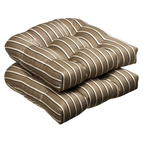 Pillow Perfect Indoor/Outdoor Brown/Beige Textured Solid Sunbrella Wicker Seat Cushions, 2-Pack image