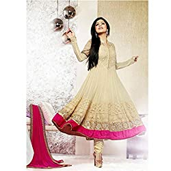 Durga Fashion Beautiful Designer Cream Net Semi-stiched Dress Material