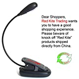 Clip on LED Book Reading Light - 2 Low Energy Bulbs, Rechargeable Battery and USB Charging Cable - Flat Base and Adjustable Flexible Stem for Multiple Lighting Tasks: Music Stand, Hobbies, Emergencies and Desk Lamp - Premium Quality By Red Kite - 100% 1 Year Guarantee
