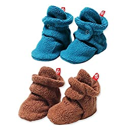 2 Pairs of Cozie Fleece Booties by Zutano - Pagoda - 6 Mths / 12-14 Lbs / 20-24\