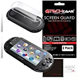 [PACK OF 2] SONY PlayStation PS Vita SLIM / Vita 2000 FRONT & BACK Clear Screen Protectors with Cleaning cloth (PS Vita Slim 2014) - TECHGEAR