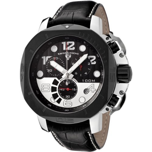 Swiss Legend Men&#8217;s 10538-01-BB-SP Scubador Collection Chronograph Black Leather Watch