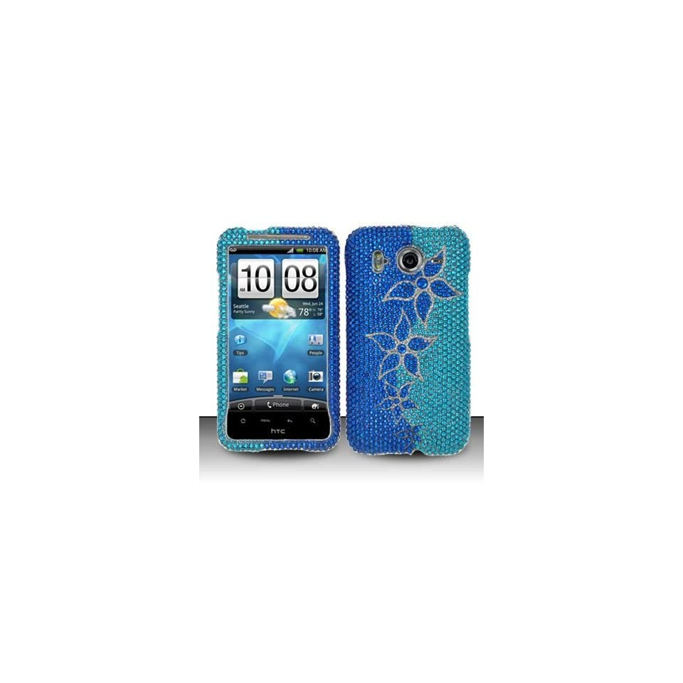 BLUE FLOWER Hard Plastic Rhinestone Bling Design Case for HTC Inspire 4G / Desire HD + Screen Protector [In Twisted Tech Retail Packaging]