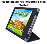 HP Slate 8 Pro (7600US) 8-Inch Tablet Custom Fit Portfolio Leather Smart Cover Case with Built In Stand- Black