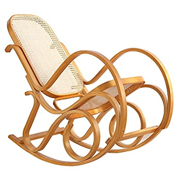 Rocking Chair Rattan Knitting Leisure Chair Vintage Living Room Furniture Conservatory Relax Bentwood Birch Easy Chair (Wood color)