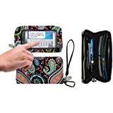 Charm 14 Paisley Large Touchscreen Cell Phone Travel Carrying Case - Retail Packaging - Paisey Multicolor
