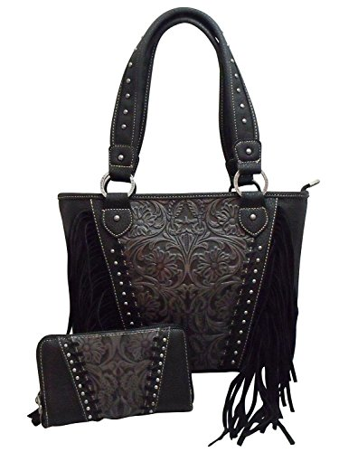 montana-west-trinity-ranch-purse-wallet-set-concealed-carry-handgun-floral-tooled-black