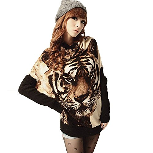 Ninimour- Womens Tiger Print Batwing Sleeve Pullover Sweater (Apricot)