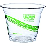 Eco-Products EP-CC9S-GS 9 oz GreenStripe Clear Plastic Cold Cup (20 Packs of 50)