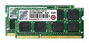 Transcend ノートPC用メモリ PC3-12800 DDR3 1600 16GB 1.5V 204pin SO-DIMM Kit (8GB×2) (無期限保証) JM1600KSH-16GK