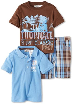 Little Rebels Boys 2-7 3 Piece Surf Classic Short Set, Medium Blue, 3T