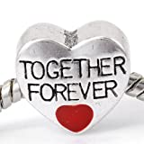 """ Together Forever on Heart w/ Red "" Charm for Pandora Chamilia Kay Troll Bracelet"