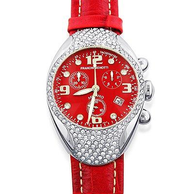"Franchi Menotti Unisex ""9000 Series"" Stainless Steel Chrono w/Leather Strap Watch"