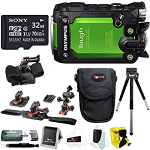 Olympus Stylus Tough TG-Tracker Action Cam Green w/ 32GB Sony Card + Helmet Kit
