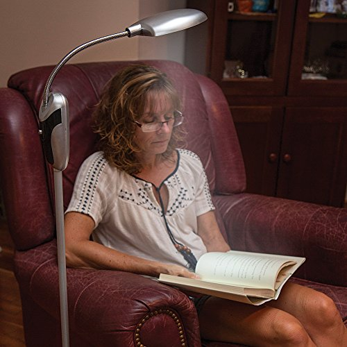 Cordless Anywhere Floor Lamp W/ Cool-Burning Led Bulbs & Flexible Gooseneck