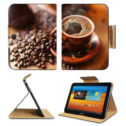 Hot Black Coffee Scattered Beans Samsung Galaxy Tab 3 10.1 Flip Case Stand Magnetic Cover Open Ports Customized Made To Order Support Ready Premium Deluxe Pu Leather 9 7/8 Inch (250Mm) X 7 1/4 Inch (183Mm) X 11/16 Inch (17Mm) Luxlady Galaxy Tab3 Cases Tab