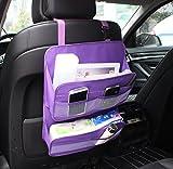 Showkoo Asiento trasero del coche Organizador protector de la cubierta y la bolsa de almacenamiento de archivos en la revista Documento Organizador bolso colgante (Púrpura)