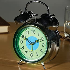 Glow in the Dark Twin Bell Alarm Clock with 2 Alarm Sounds