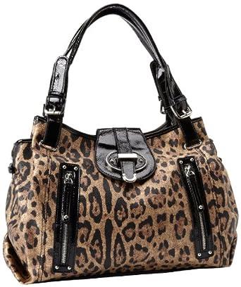 Nine West Zipster Satchel Handbag,Brown Multi/Black,One Size