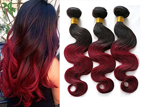 Ombre 2 Tone Brazilian Hair Body Wave Ombre Brazilian Hair Weave Bundles 1B BUG T Hair Products 7A Ombre Virgin Hair 300g RED 1B 99J (14 16 18) (Red Wet And Wavy Hair compare prices)