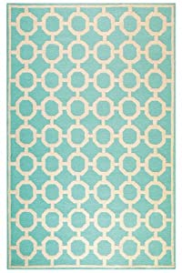 "Espana Area Outdoor Area Rug, 5'x7'6"", AQUA"
