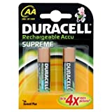 Duracell Rechargeable Accu Supreme 2450 mAh AA Batteries - 2-Pack