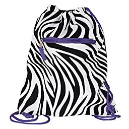 World Traveler 15 Inch Drawstring Backpack Bag, Purple Trim, One Size