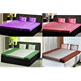 India Furnish 100% Cotton Flower & Leaves Design Double Bedsheets With Pillow Covers Combo Of 4 Sets-Purple,Pink...