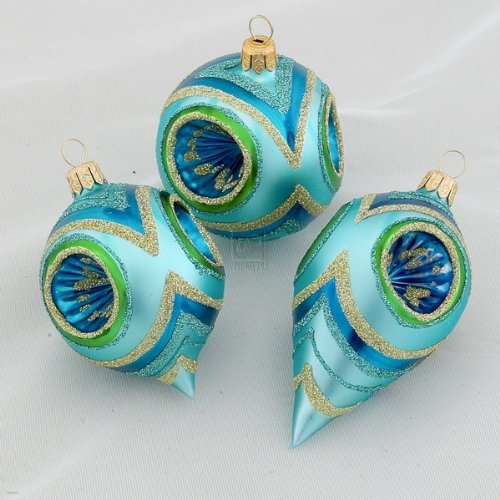 Glass Peacock With Gold Silver Hand Decorated Reflector Ornaments Set Of 12