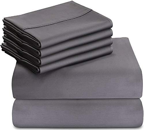 Utopia Bedding 6-Piece Bed Sheet Set (Queen - Grey) With 4 Pillowcases - Soft Brushed Microfiber Wrinkle, Fade and Stain Resistant Sheet Set