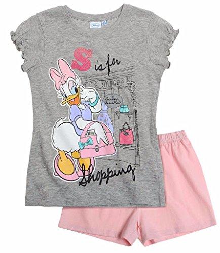 Daisy Duck 2015 Schlafanzug Shorty 92 98 104 110 116 122 128 Mädchen Shortie Disney Pyjama Kurz Neu Grau-Rosa (122 - 128)
