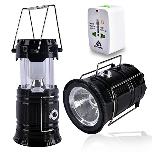 NutureFun LED Campo luce solare ricaricabile di campeggio esterna della lanterna per escursioni, campeggi, pesca, 2 Funzione, adattatore CA di potere di corsa per libero, il nero