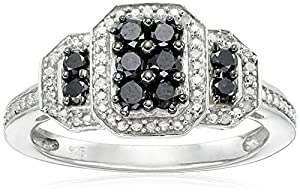 Sterling Silver 1/2cttw Black and White Diamond  Twisted Ring, Size 7