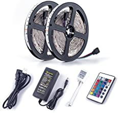 ALED LIGHT® 2x5Meter (10M in Total) 3528 SMD 600 LED RGB Strip Lights,Flexible LED Strip Ribbon With 6A Power Supply Adapter +24 Key Colours IR Controller. Decorative LED Strip Lights for Holiday, Event, show exhibition