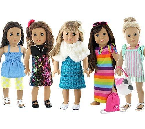 28块假期很多适合18英寸的美国女孩洋娃娃的衣服,美国