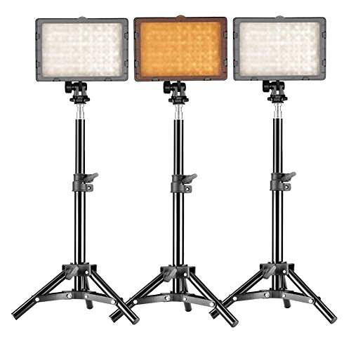 Neewer® Photography 3 x 160 LED Studio Lighting Kit, includes (3)CN-160 Dimmable Ultra High Power Panel Digital Camera DSLR Camcorder LED Video Light +(3)32
